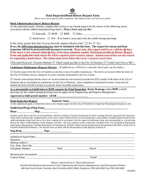 final inspection bond release form