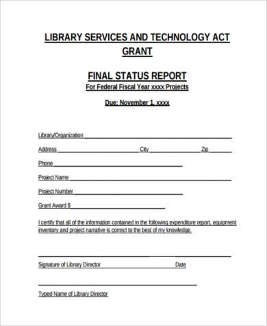 final status report form