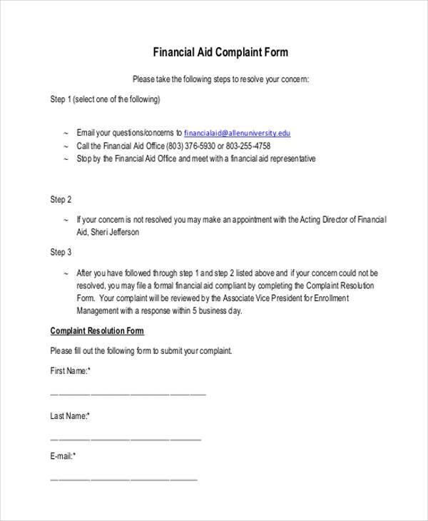 financial aid complaint form1