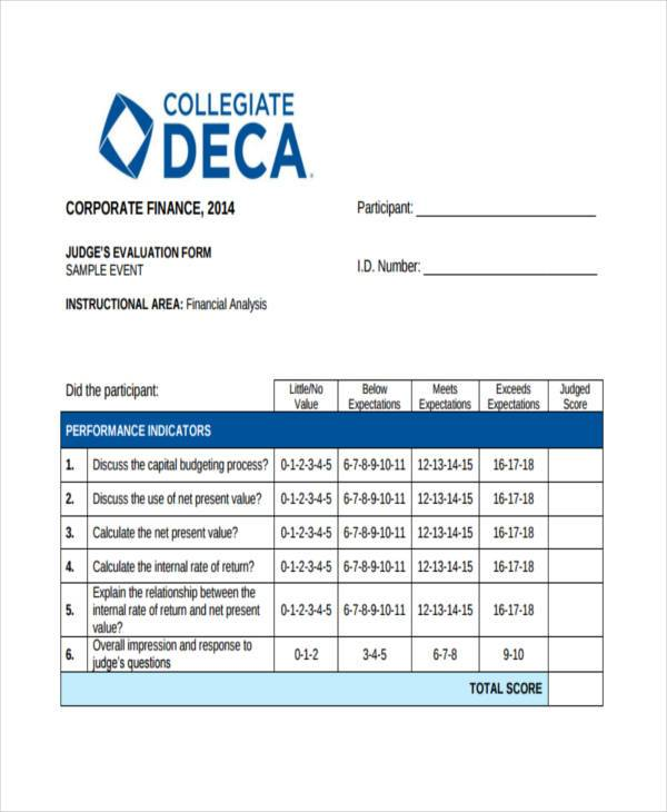financial analyst evaluation form sample