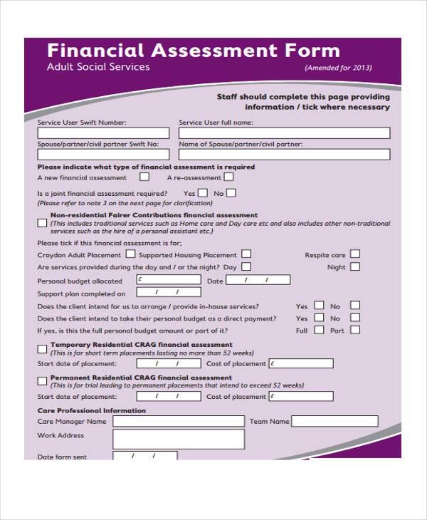 financial assessment form format