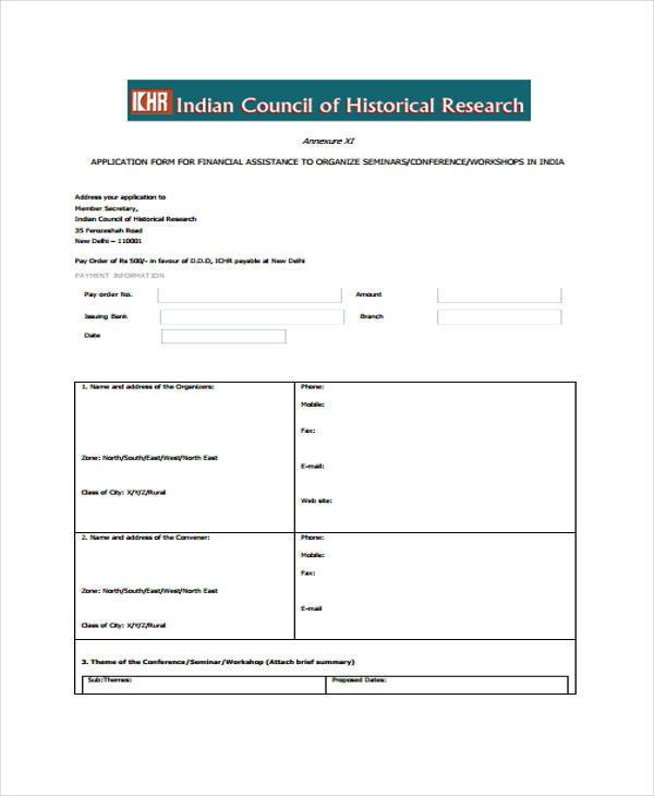 financial assistance application form for seminar