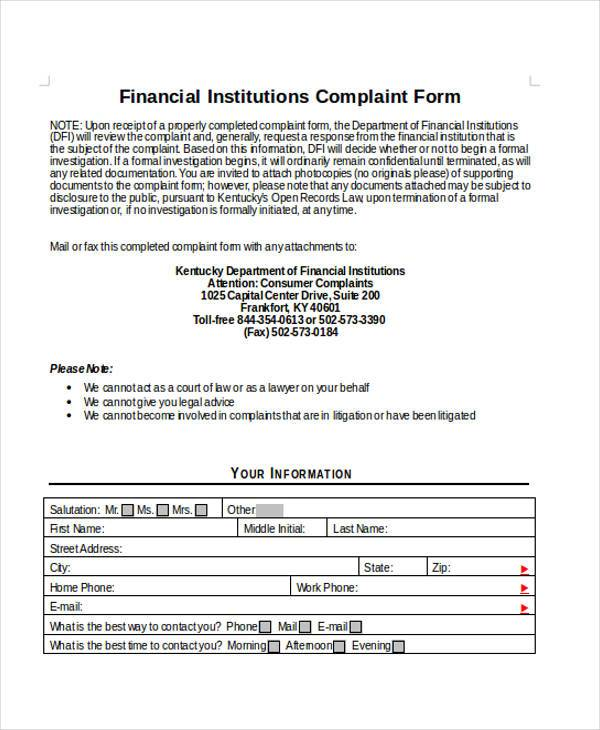 Sample Financial Complaint Forms   Free Documents In Word Pdf