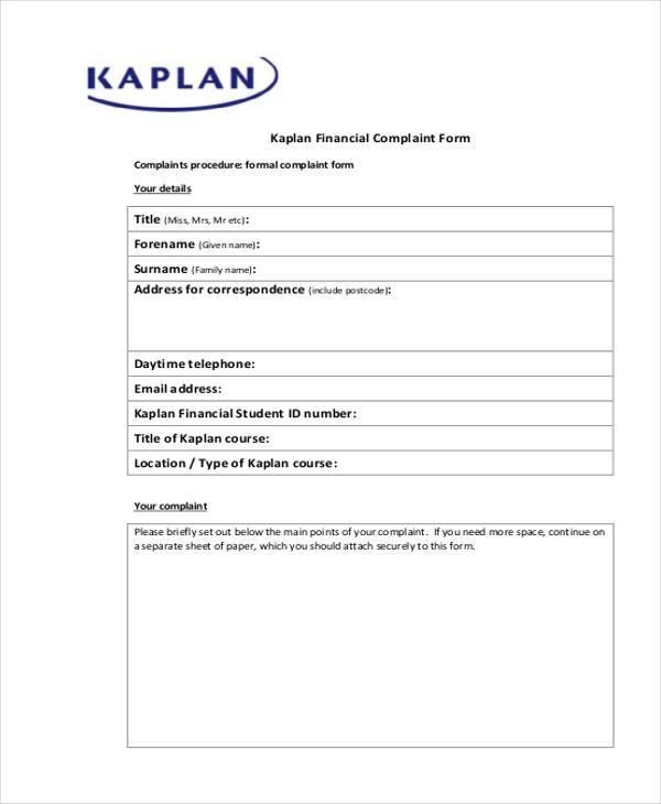 Sample Banking Ombudsman Complaint Form | Templatezet. Free Complaint Forms