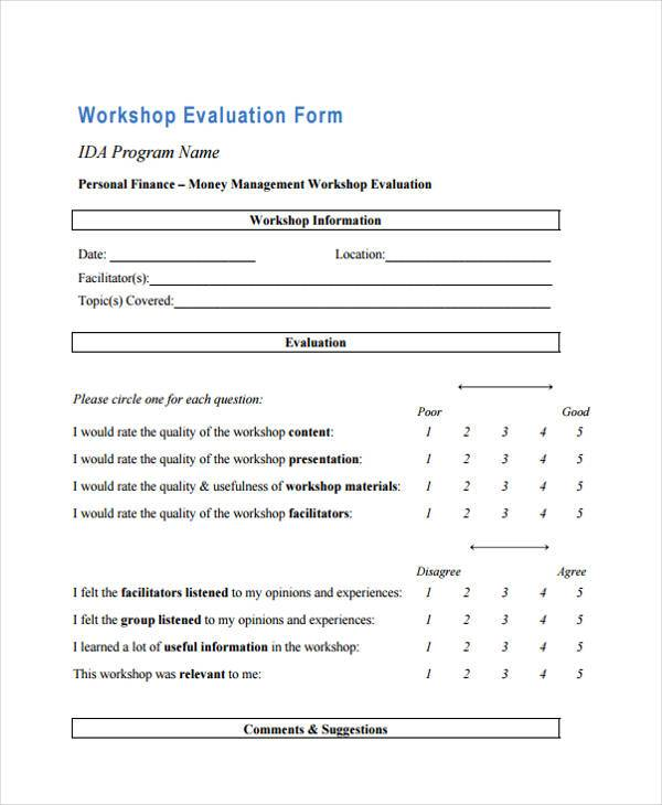 financial education workshop evaluation form