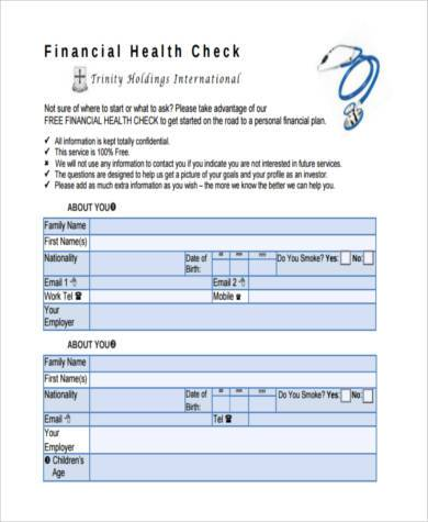financial health check form