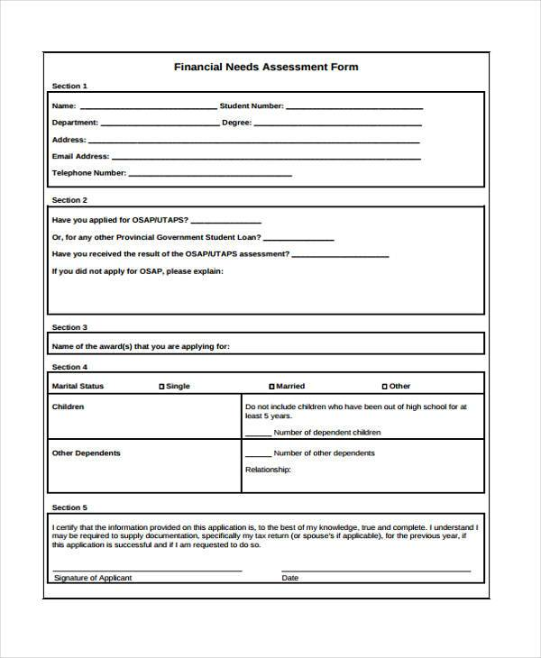 7 financial assessment form samples free sample for Financial needs analysis template free