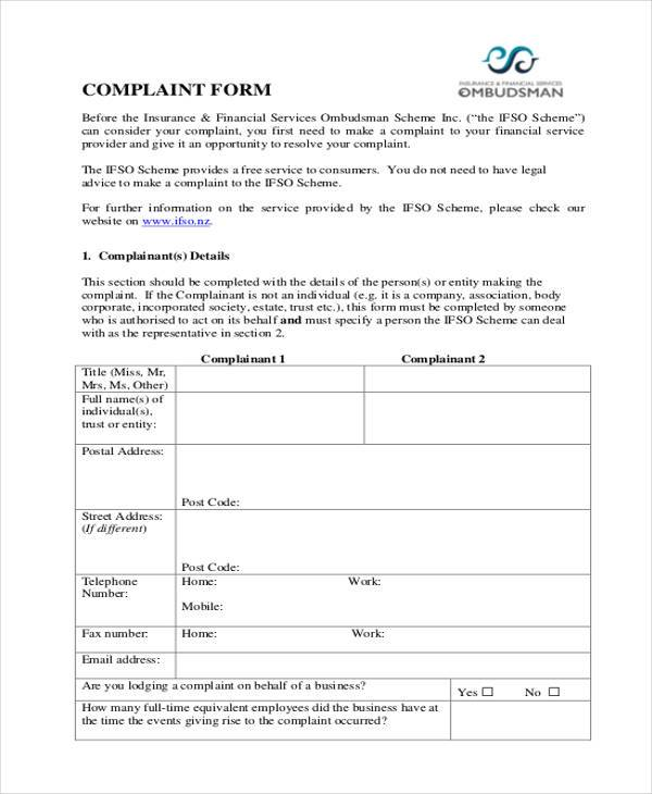 Financial Complaint Form Samples  Free Sample Example Format