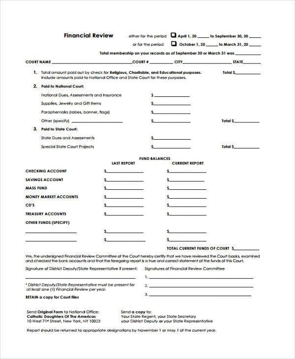 sample financial review forms