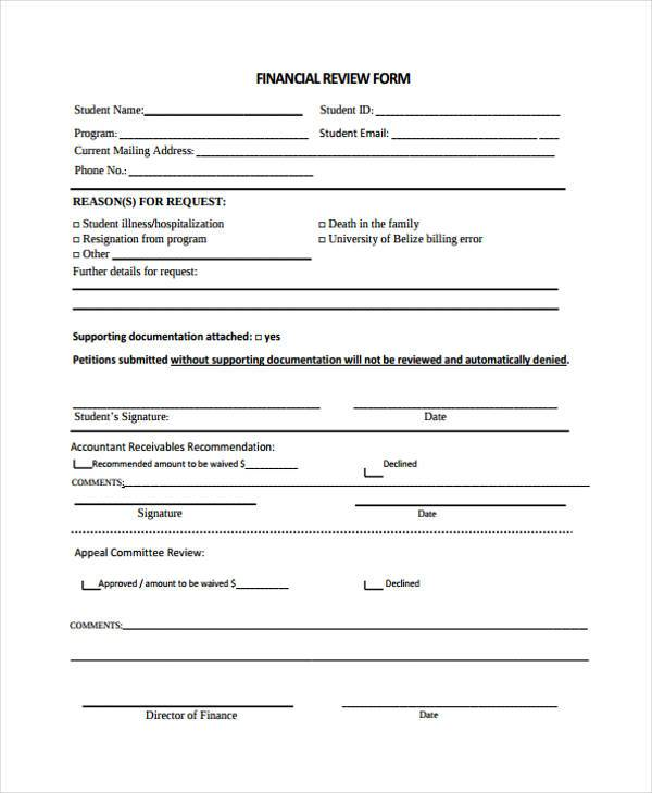 financial review form in pdf