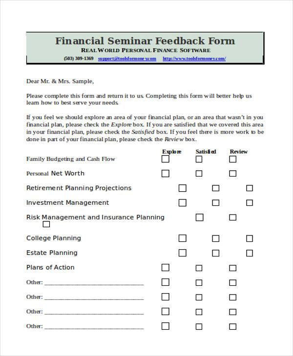 Sample Seminar Feedback Forms  Free Documents In Word Pdf