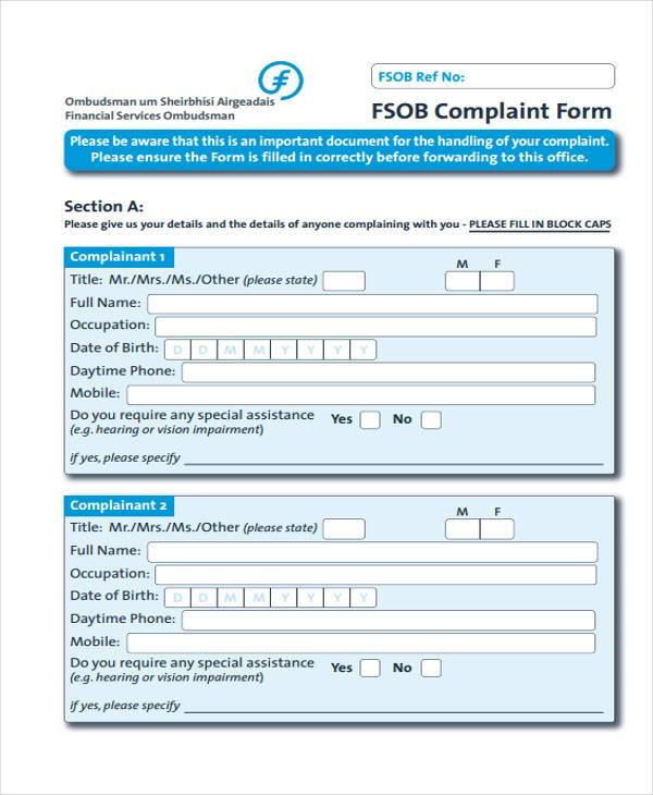 Service Complaint Form Samples  Free Sample Example Format
