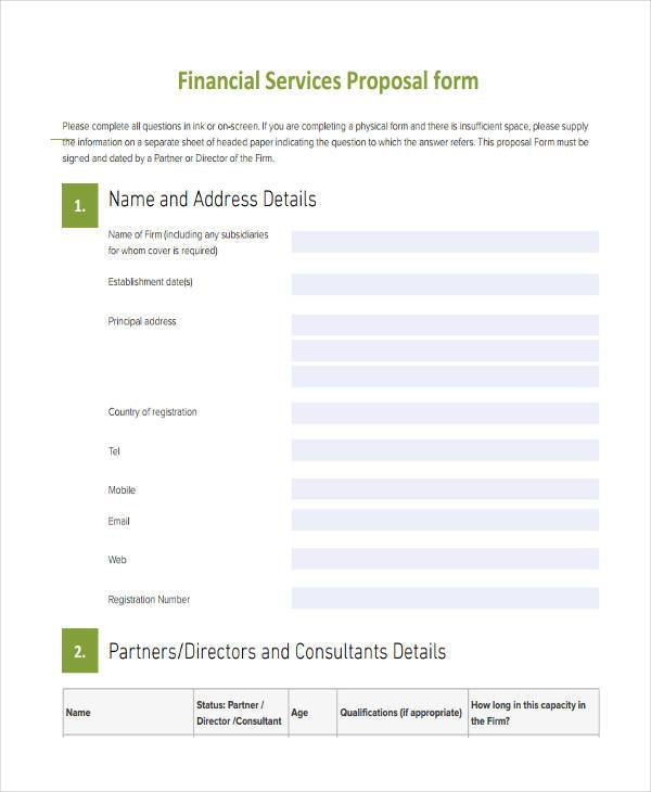 financial service proposal form