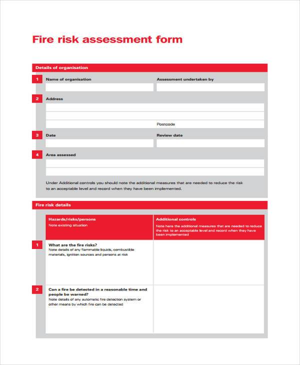 fire risk self assessment form1