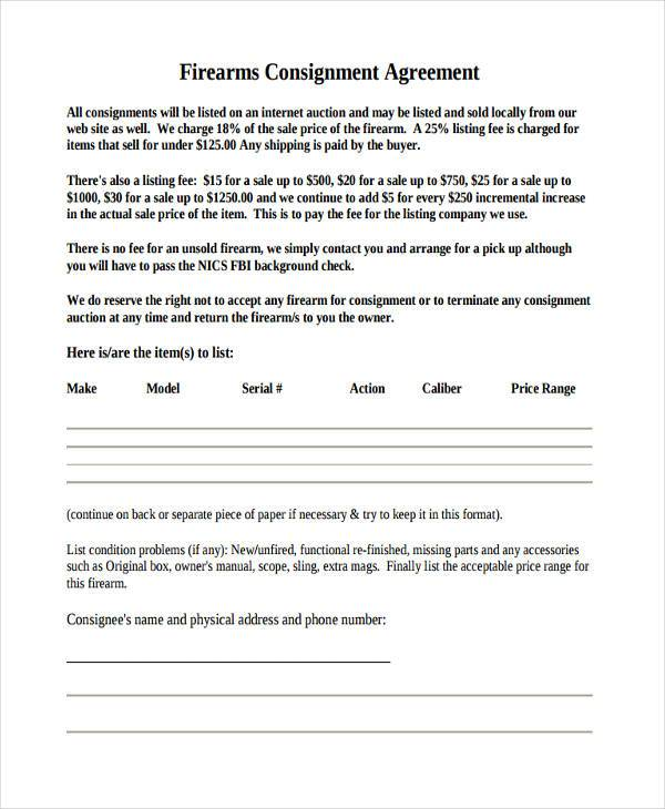 firearm consignment agreement form