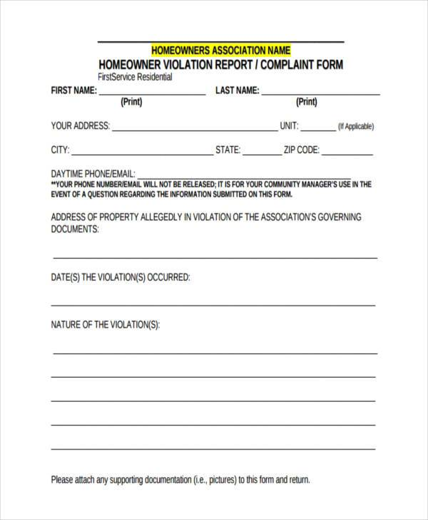 first service residential complaint form