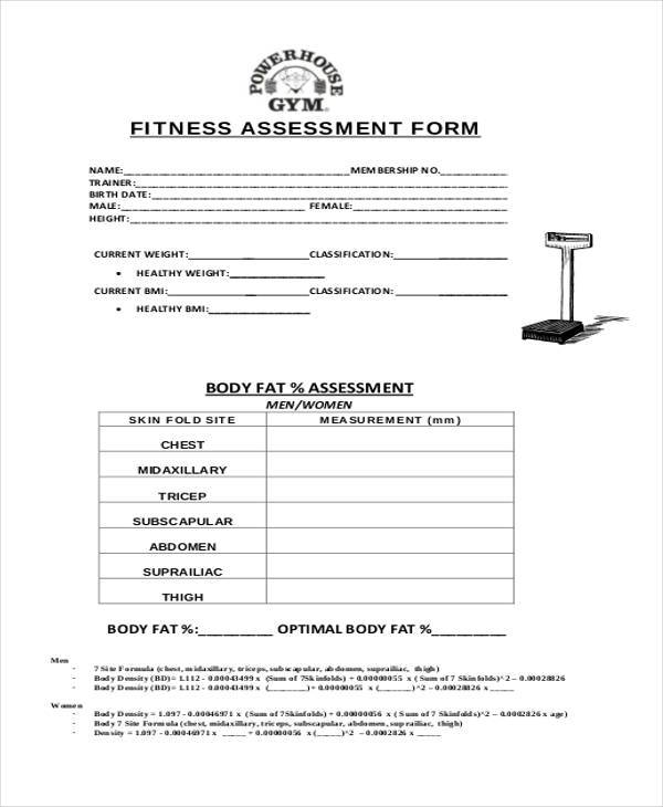 Sample Free Assessment Forms 33 Free Documents in Word DPF – Fitness Assessment Form