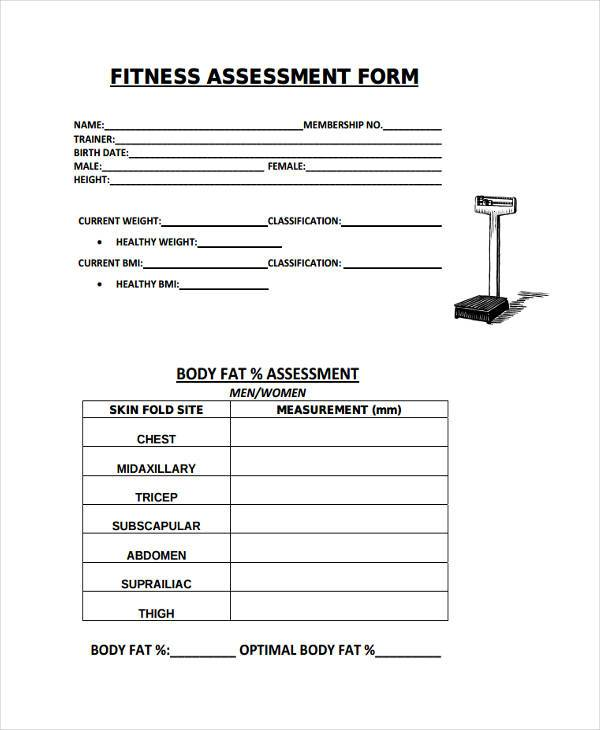 fitness evaluation form 8  Fitness Assessment Form Samples - Free Sample, Example Format ...