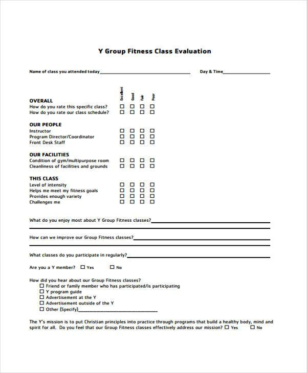 Class Evaluation Form Samples  Free Sample Example Format