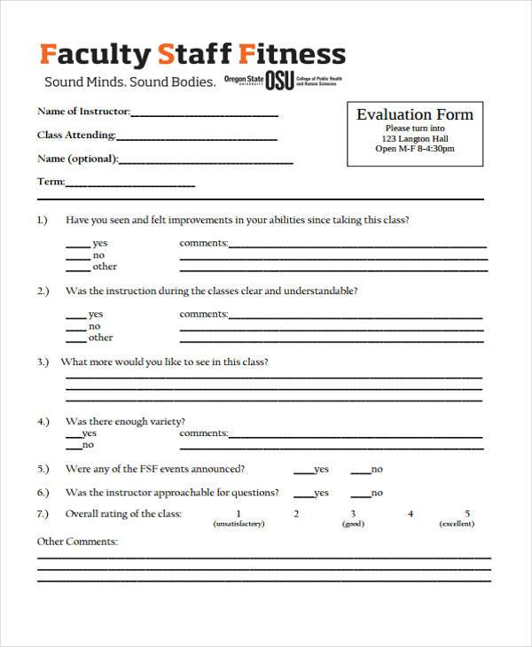 8 Fitness Evaluation Form Sample Free Sample Example Format Download