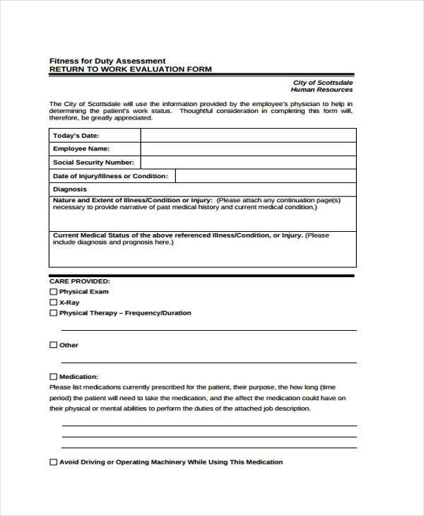 Fitness Evaluation Form Sample  Free Sample Example Format