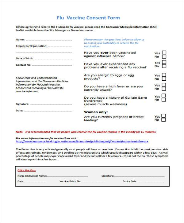 7 sample vaccine consent forms free documents in word pdf for Vaccination consent form template