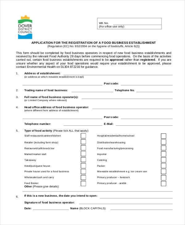 food business registration form
