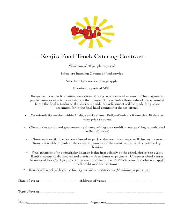 free catering contract template