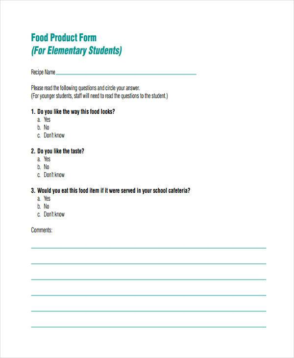 food product feedback form