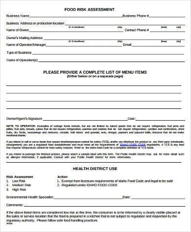 food safety risk assessment template - sample safety risk assessment forms 8 free documents in