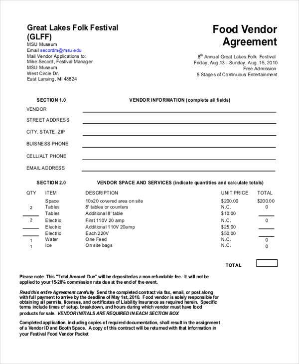 Sample Vendor Agreement Forms 8 Free Documents in Word PDF – Food Vendor Contract