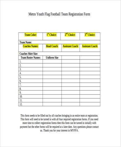 football team registration form