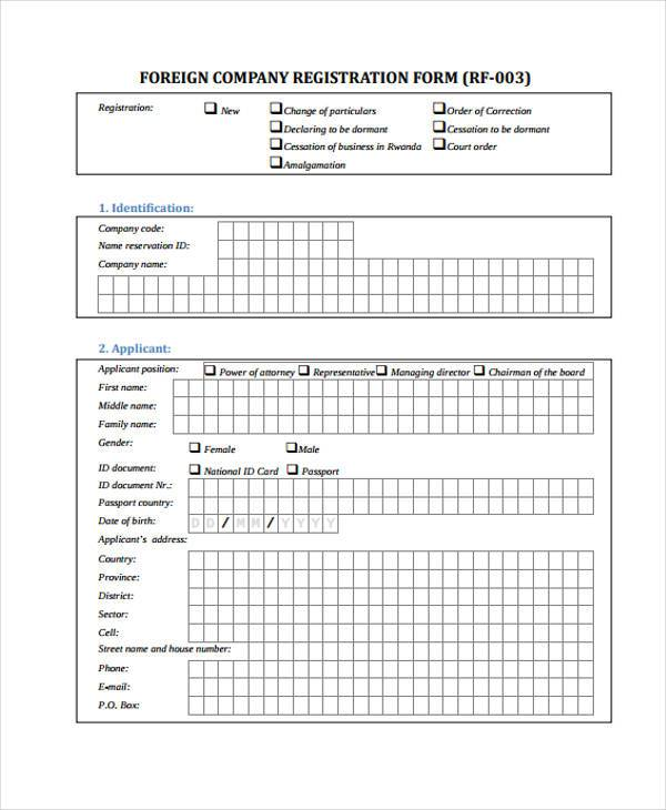 foreign company registration form