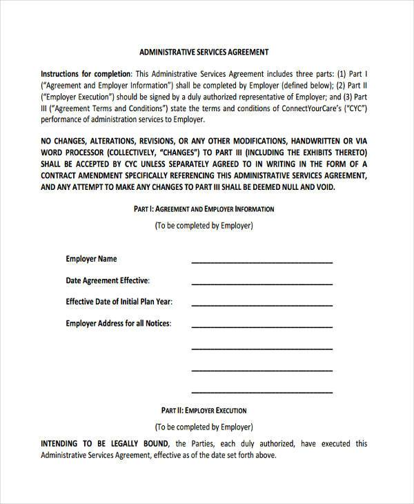 form of administrative services agreement