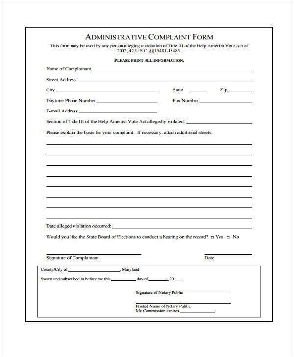 formal administrative complaint form