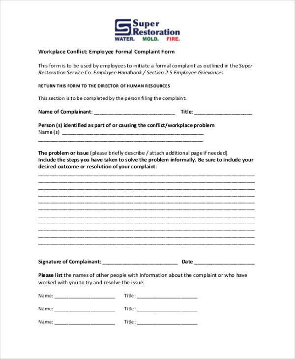 formal employee complaint form1
