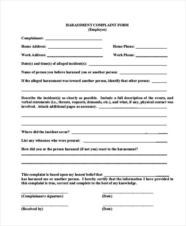 Great Formal Harassment Complaint Form Sample