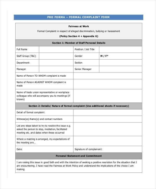 formal harassment complaint form1