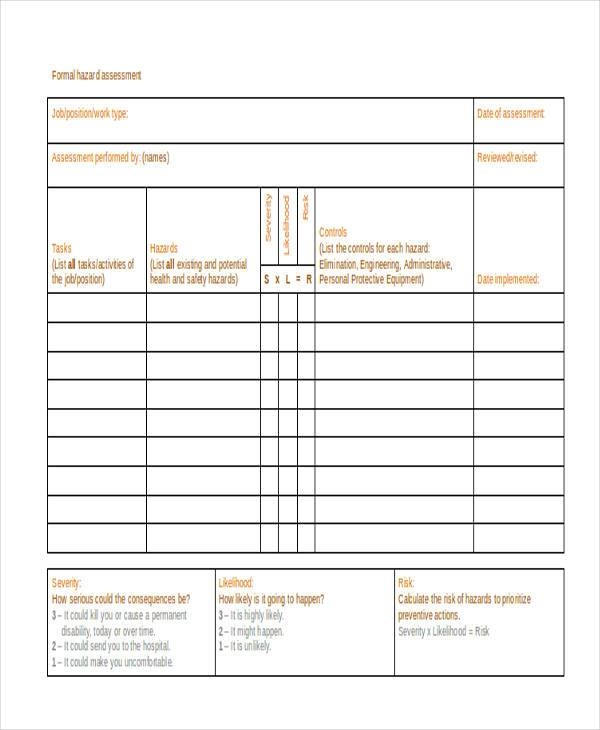 formal hazard assessment form