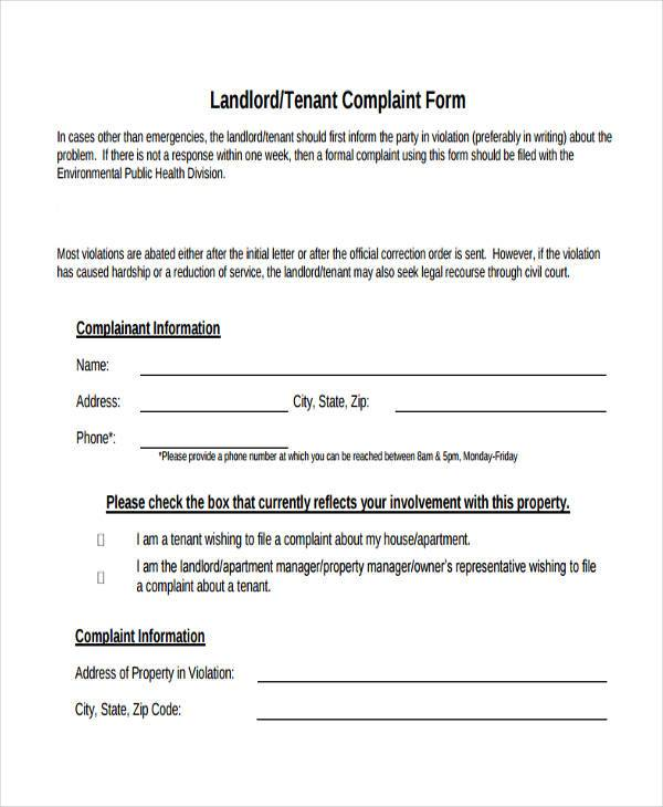 Sample Landlord Complaint Forms   Free Documents In Word Pdf