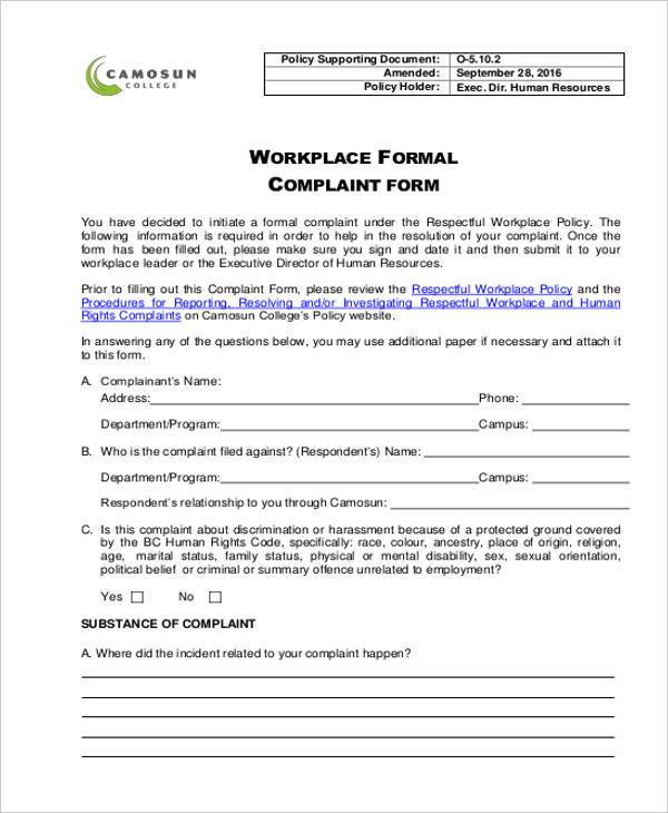 formal workplace complaint form