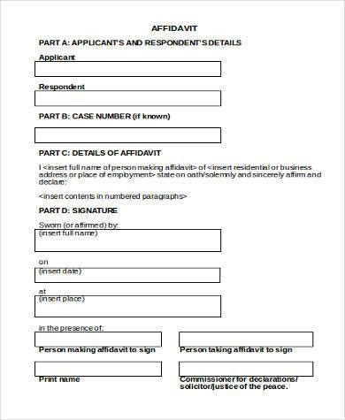 free affidavit form word doc