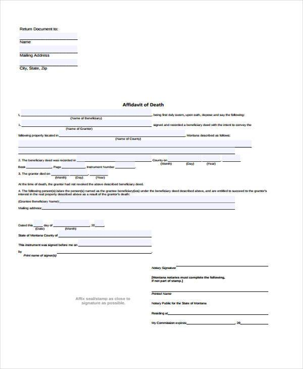 Sample Affidavit Of Death Forms   Free Documents In Word Pdf