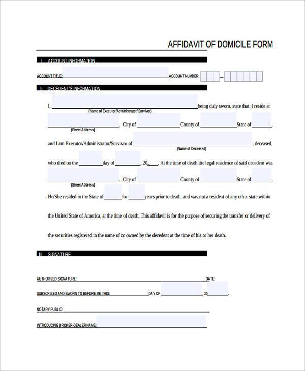 Sample Affidavit Of Domicile Forms - 8+ Free Documents In Word, Pdf