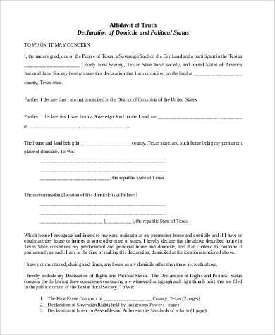 Free Affidavit Of Truth Form PDF