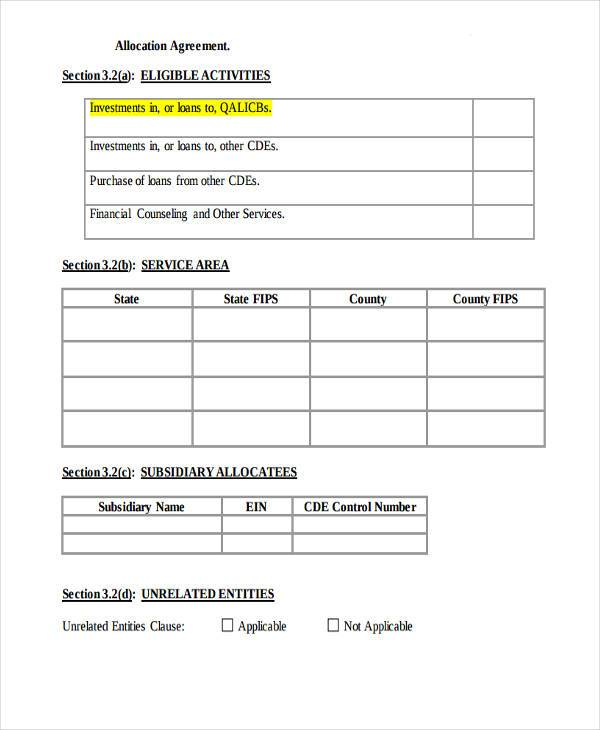 free allocation agreement form
