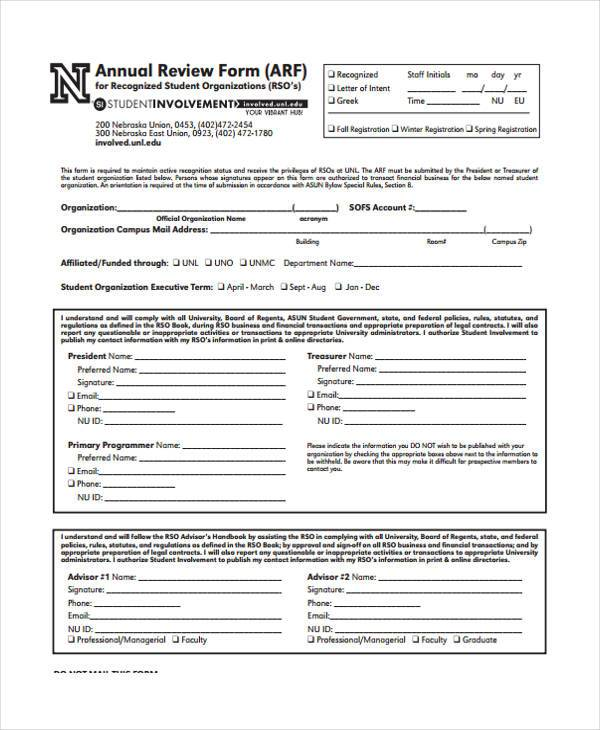 free annual review form