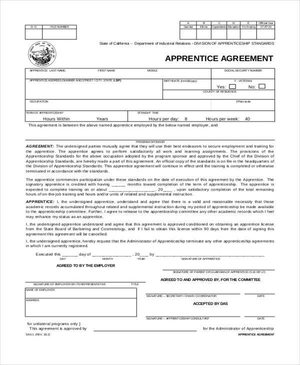 free apprenticeship agreement form