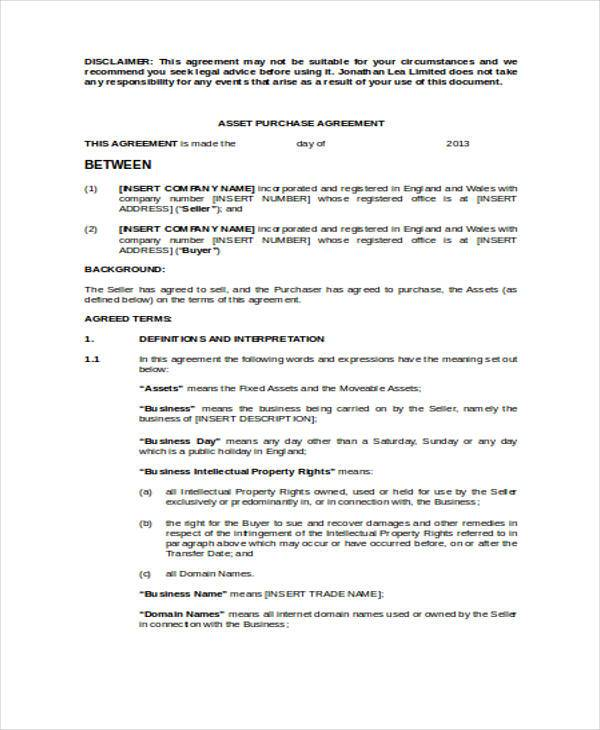 Asset Agreement Form Samples  Free Sample Example Format Download