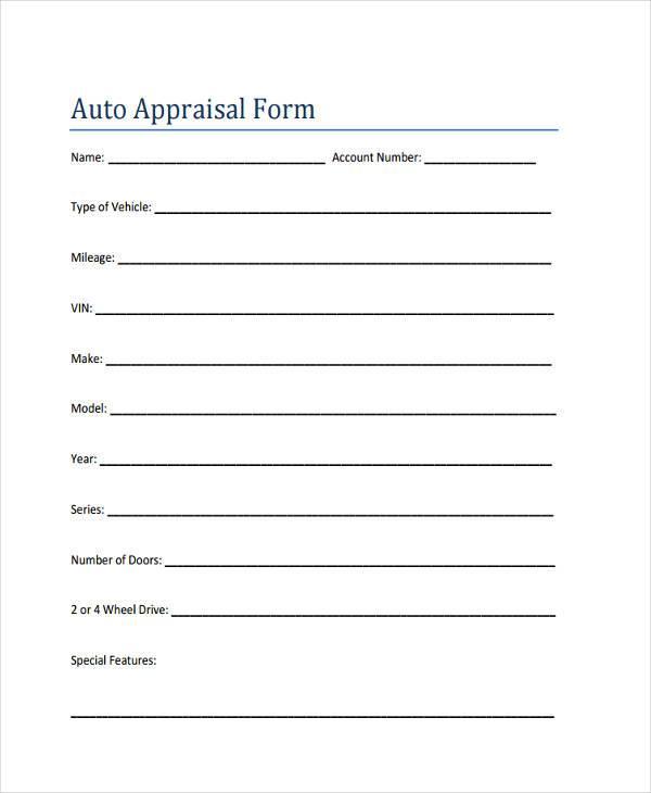 free auto appraisal form sample